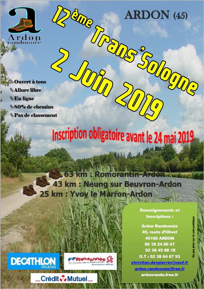 Bulletin d'inscription Trans'Sologne 2019